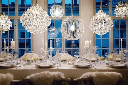 Table arrangement  wedding winter