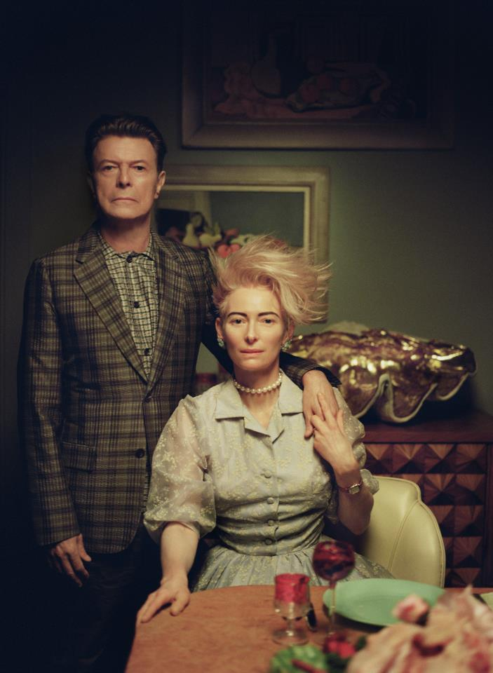 David Bowie and Tilda Swinton with Wine