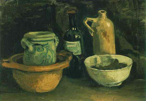 Vincent Van Gogh - Still Life with Pottery and Two Bottles 1884