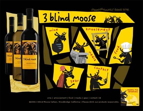 3 blind moose label design