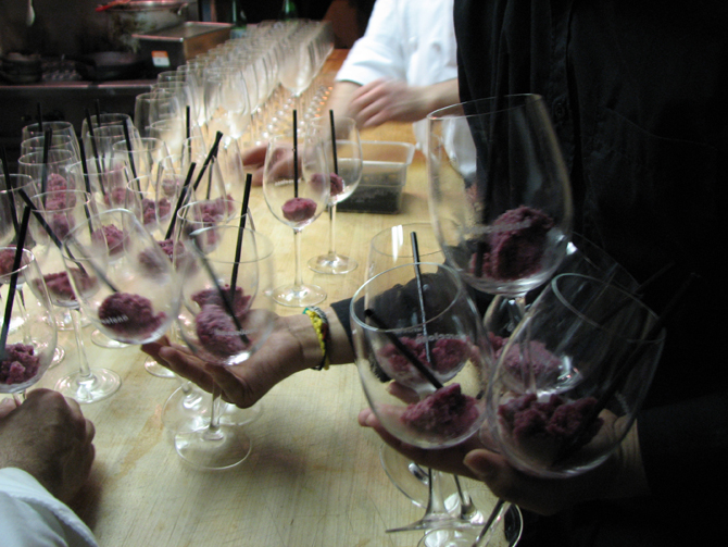 Liquid nitrogen wine sorbet in wine glasses