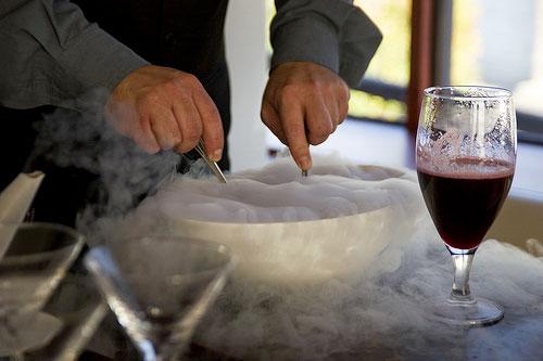 Liquid nitrogen wine sorbet