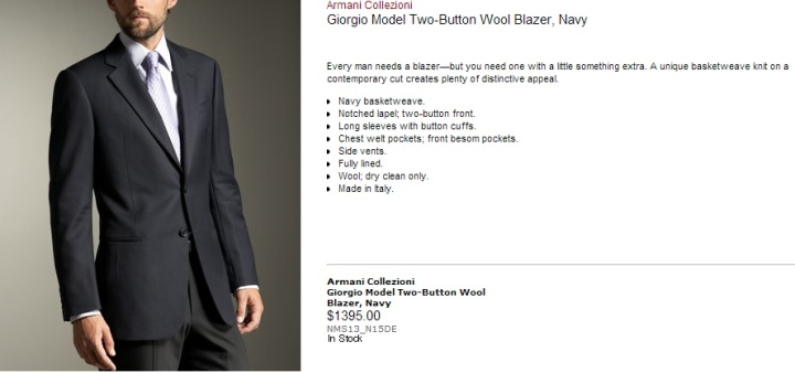 Armani Collezioni Giorgio Model Two Button Wool Blazer Neiman Marcus Summer 2013