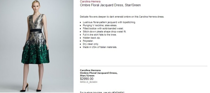 Carolina Herrera Ombre Floral Jacquard Dress Neiman Marcus Summer 2013