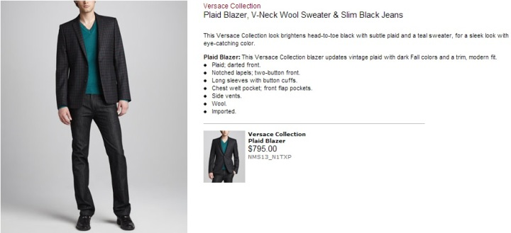 Versace Collection Plaid Blazer V Neck Wool Sweater & Slim Black Jeans Neiman Marcus 2013