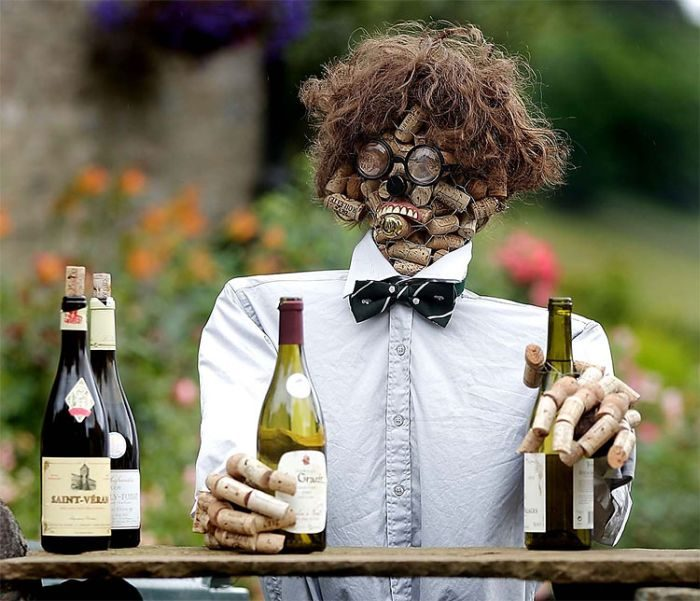 scarecrow made out of wine corks