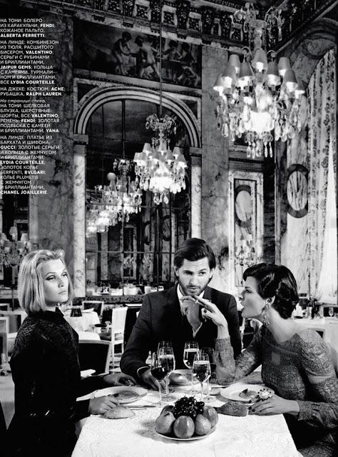Linda Evangelista Tony Garn wine  Vogue Russia 2012