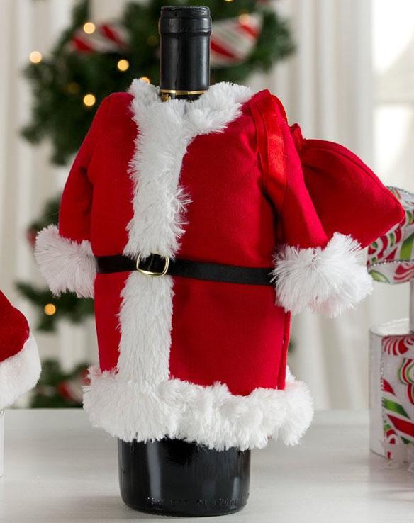 Santa Claus suit wine bottle