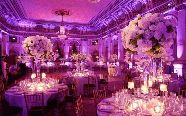 Plaza Hotel New York wedding decoration  bentley meeker lighting