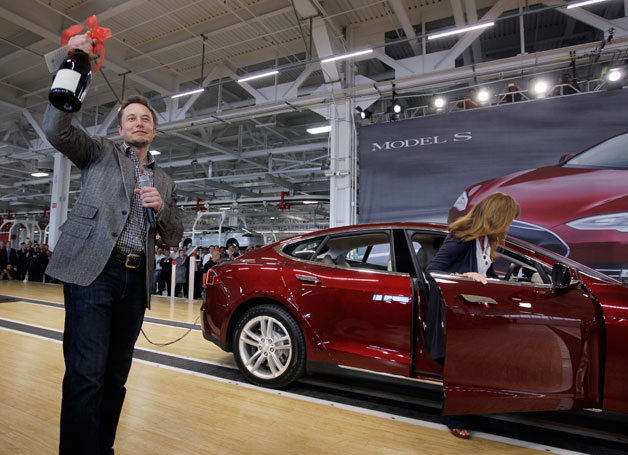 Elon Musk Tesla S Model Wine color