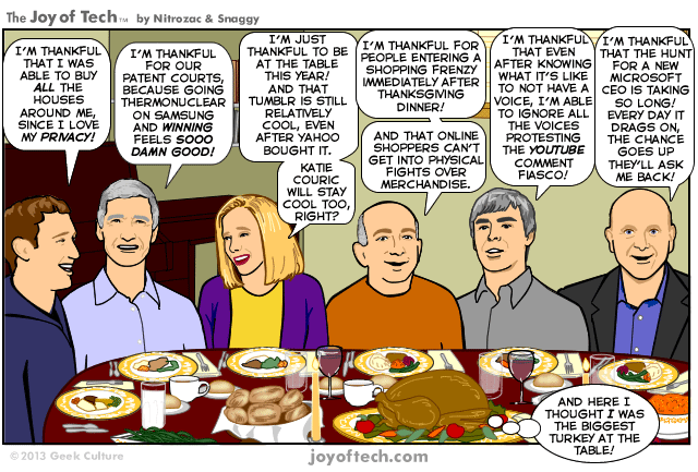 The Joy of Tech Notrozac & Snaggy  comic over Thanksgiving wine
