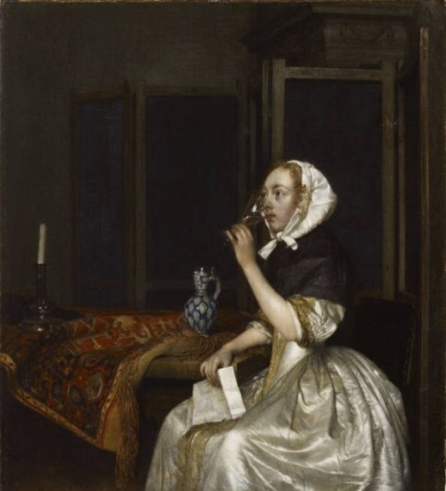 Gerard ter Borch, Lady seated, holding a wineglass. Helsinki, Sinebrychoff Museum Gerard Ter Borch (1617-81), Lady seated holding a wineglass, ca. 1665