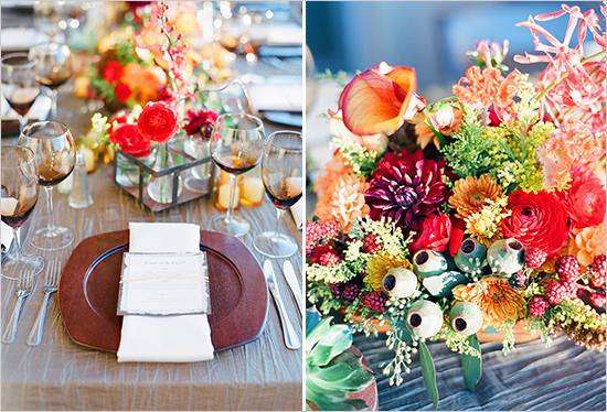 Fall Table Decorations Wine glasses and flowers