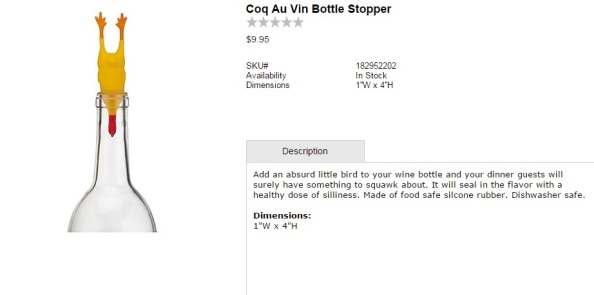 Coq Au Vin Bottle Stopper