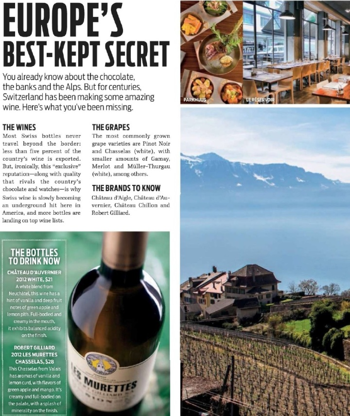 Swiss Wine, Wine Enthusiast March 2015