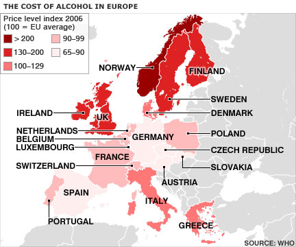 The cost of alcohol in Europe