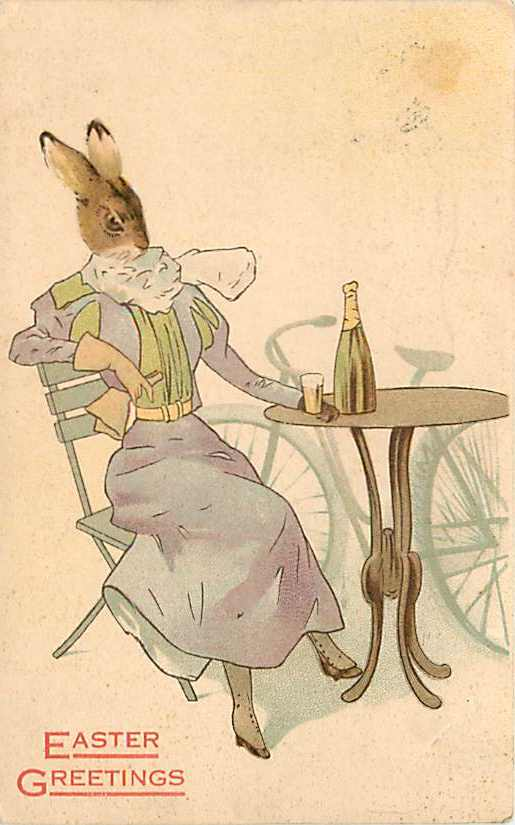 Easter Lady Rabbit 1908 drinking wine.jpg