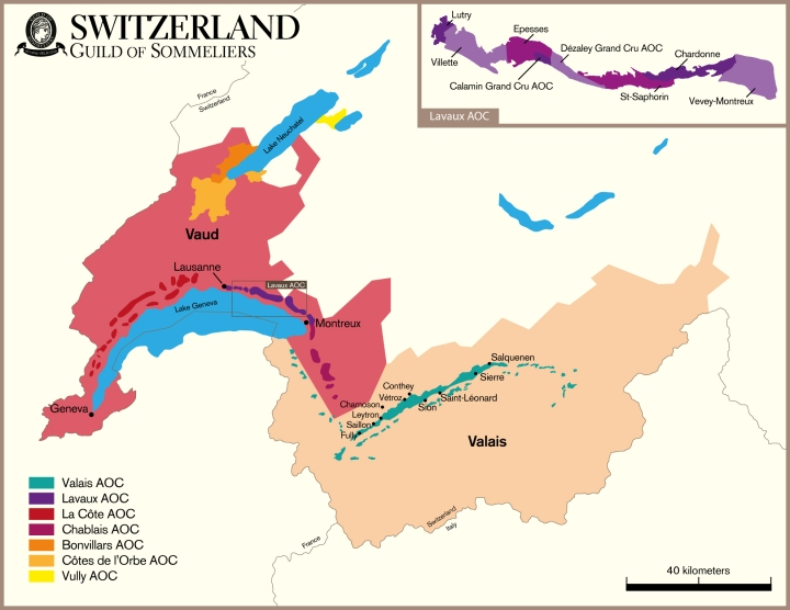 Switzerland Wine Map