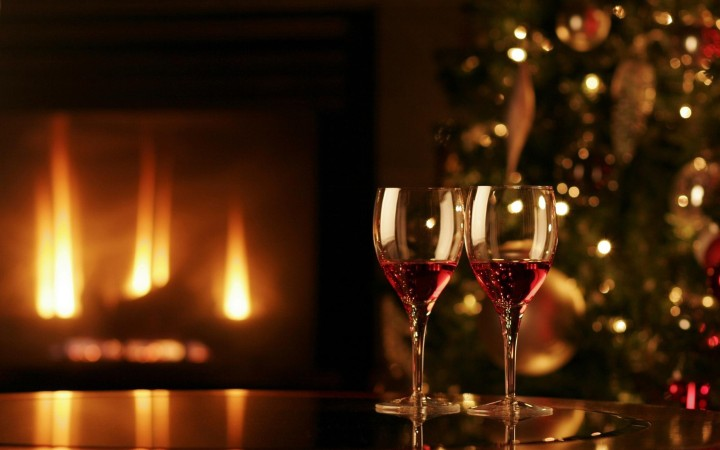 Christmas wine by the fireplace