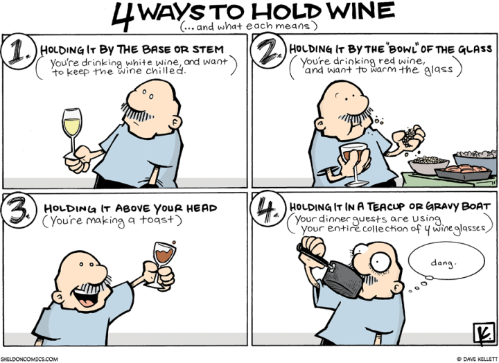 4 ways to hold wine